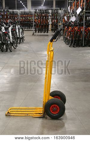 Trolley For Transportation Of Bicycles In A Warehouse
