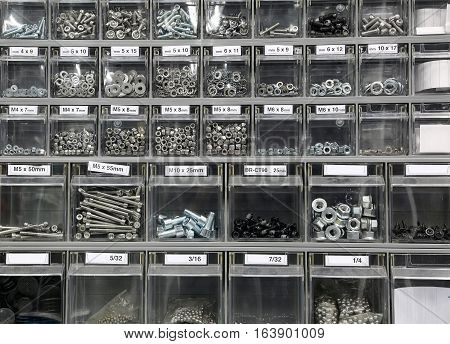Bolts And Steel Washers And Iron In Hardware Store