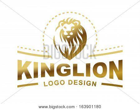 Gold lion head logo - vector illustration, emblem design on white background