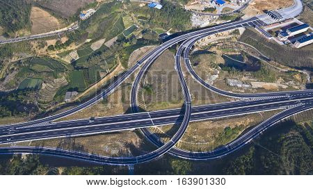 road transportation overpass, bridge of aerial photography