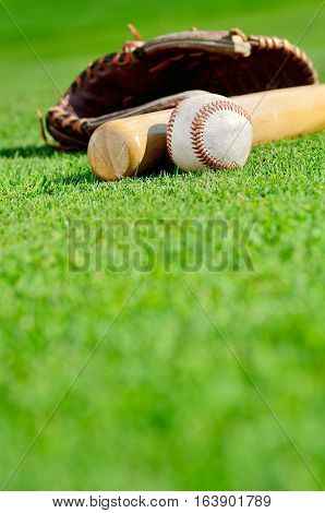 Baseball glove, ball and bags on the field