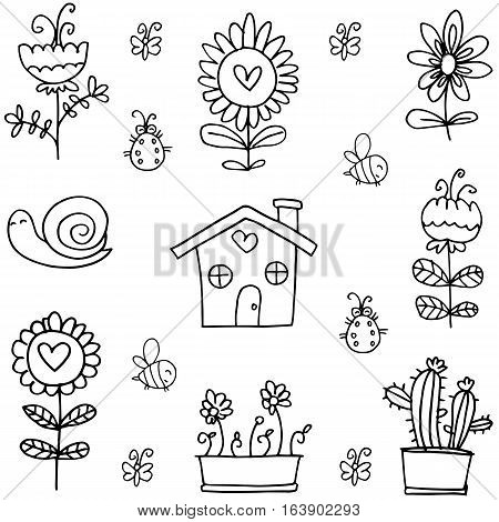 Doodle of spring object vector collection stock