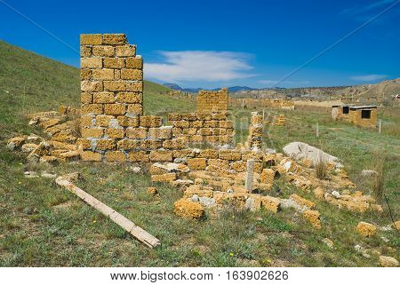 Typical Eastern Crimean landscape - unfinished small constructions.