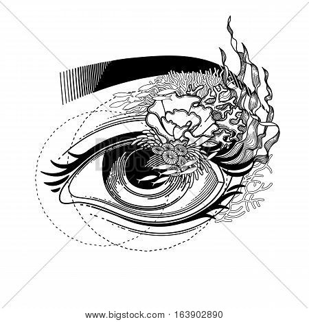 Abstract graphic eye decorated with seaweed and corals. Sacred geometry. Blackwork tattoo or t-shirt design. Vector art isolated on white background. Coloring book page for adults