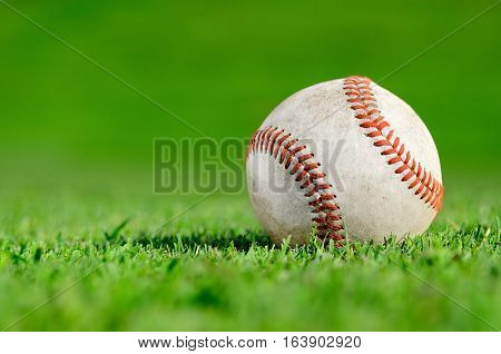 Close up of a baseball on the field