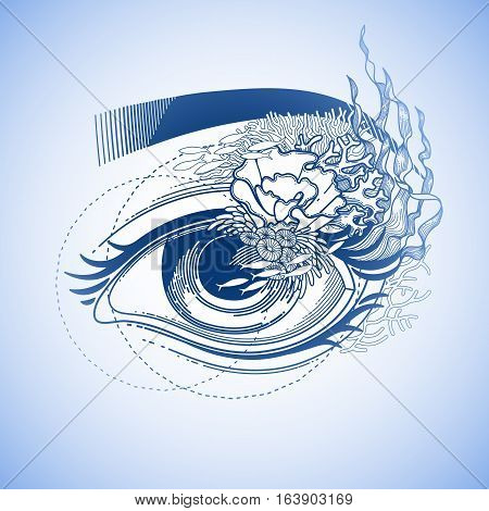 Abstract graphic eye decorated with seaweed and corals. Sacred geometry. Tattoo art or t-shirt design. Vector illustration in blue colors