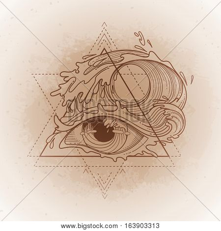 Abstract graphic eye decorated with storm waves. Sacred geometry. Tattoo art or t-shirt design. Vector illustration isolated on vintage background