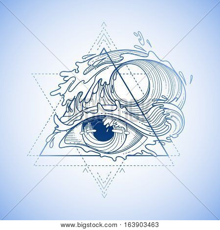 Abstract graphic eye decorated with storm waves. Sacred geometry. Tattoo art or t-shirt design. Vector illustration in blue colors