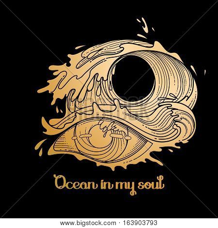 Abstract graphic eye decorated with storm waves. Sacred geometry. Tattoo art or t-shirt design. Vector illustration in gold colors