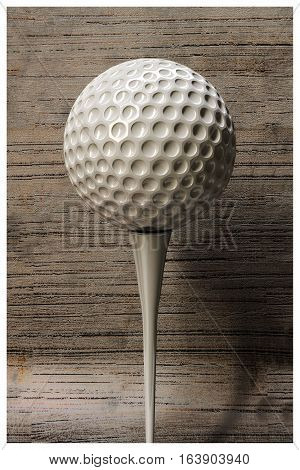 3d illustration of a golf ball on wooden background