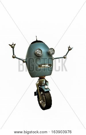 3d illustration of a monowheel robot isolated on white background