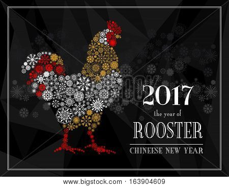 Rooster, symbol of 2017 on the Chinese calendar. Silhouette of red and white cock from snowflakes isolated on black polygon snowflakes background. Happy New Year greeting card. Vector illustration