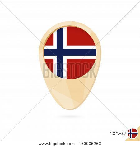 Map Pointer With Flag Of Norway. Orange Abstract Map Icon.