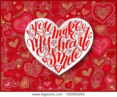you make my heart smile calligraphy design on red paper hand drawing heart shape background to valentines day, vector illustration