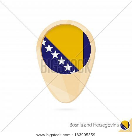 Map Pointer With Flag Of Bosnia And Herzegovina. Orange Abstract Map Icon.