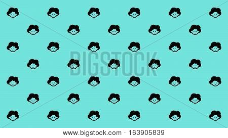 Mama face with curly hair style smiles happily arranged as pattern for monitor wall paper or printable paper wrap.