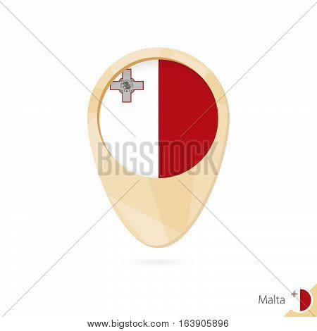Map Pointer With Flag Of Malta. Orange Abstract Map Icon.