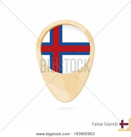 Map Pointer With Flag Of Faroe Islands. Orange Abstract Map Icon.