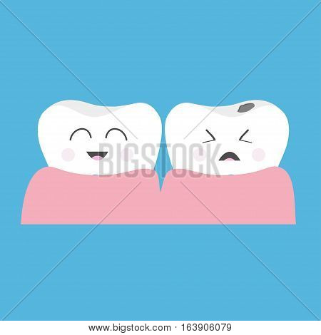 Healthy smiling tooth gum icon. Crying bad ill teeth caries care. Cute character set. Oral dental hygiene. Baby background. Flat design. Vector illustration poster
