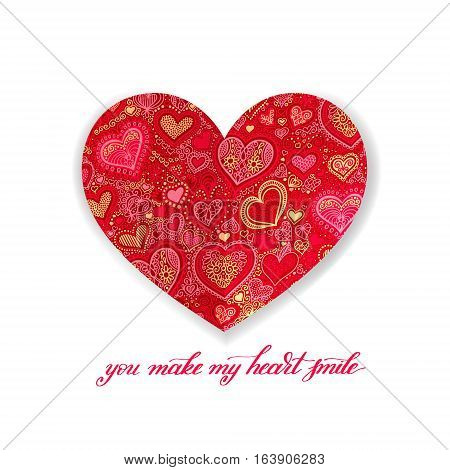 you make my heart smile calligraphy design with red paper heart shape hand drawing background to valentines day, vector illustration eps 10