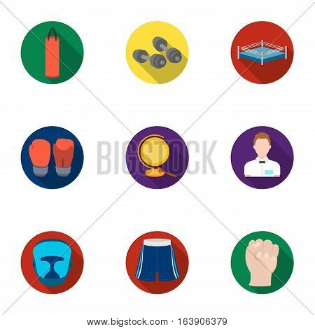 Boxing set icons in flat design. Big collection of boxing vector symbol stock illustration