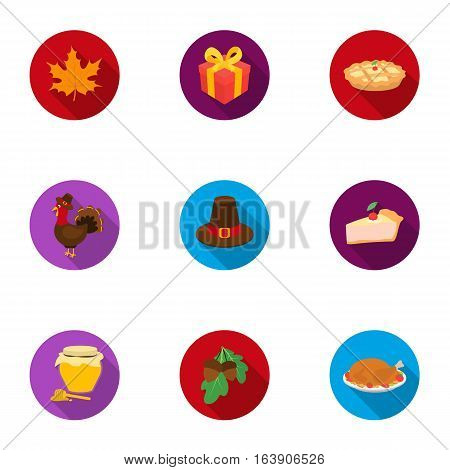 Canadian Thanksgiving Day set icons in flat style. Big collection of canadian Thanksgiving Day vector symbol stock