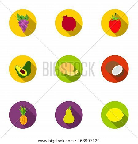 Fruits set icons in flat style. Big collection of fruits vector symbol stock