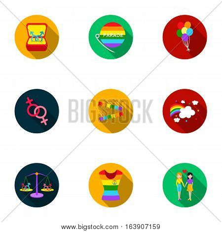 Gay set icons in flat style. Big collection of gay vector symbol stock