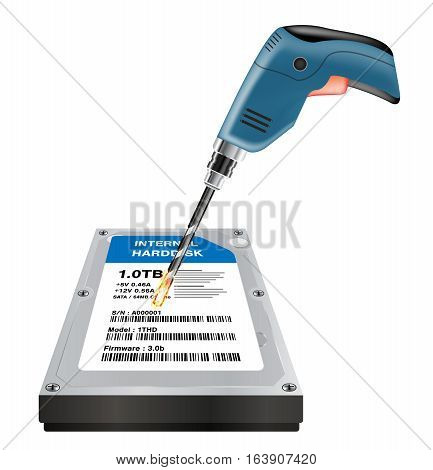 electric drill destroying a data in  internal harddisk