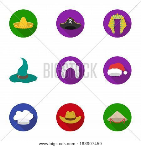 Hats set icons in flat style. Big collection of hats vector symbol stock