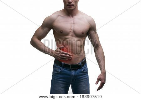 Attack of appendicitis pain in right side of muscular male body isolated on white background with red dot