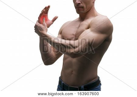 Pain in hand carpal tunnel syndrome muscular male body studio isolated shot on white background with red dot