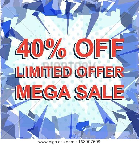Red Striped Sale Poster With Limited Offer Mega Sale 40 Percent Off Text. Advertising Banner
