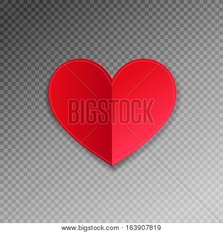 red paper heart shape origami with shadow on transparence background to valentines day design, vector illustration eps 10