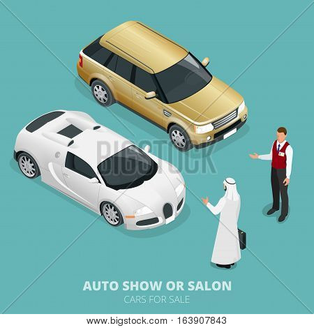 Commercially colourful cars stand in car shop. Cars for sale. Auto business, car sale and people concept. Vector 3d flat isometric illustration