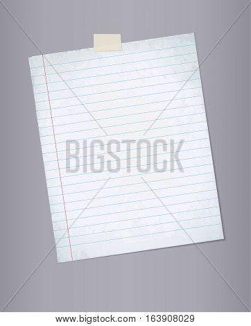 Blank lined paper from a notebook or notepad for notes vector background.