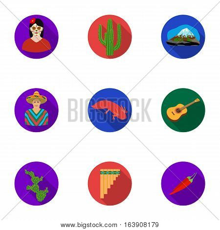 Mexico country set icons in flat design. Big collection of mexico country vector symbol stock illustration