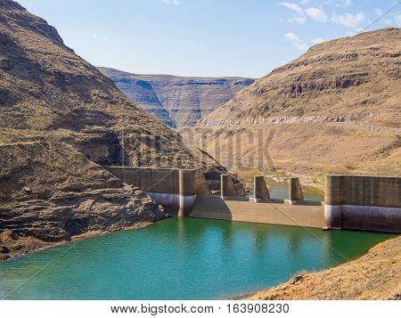 Impressive Katse Dam hydroelectric power plant in Lesotho, Africa