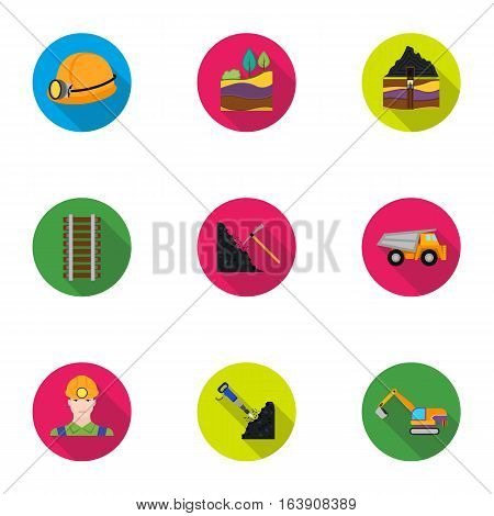 Mine set icons in flat style. Big collection of mine vector symbol stock