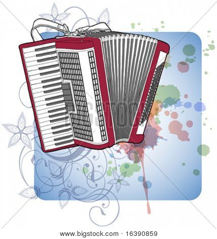 Concert Accordion & floral calligraphy ornament - a stylized orchid, color paint background