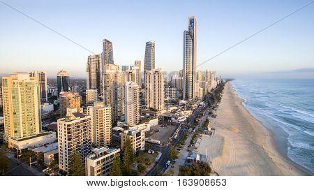 GOLD COAST, AUSTRALIA - DECEMBER 17 2016: Aerial view of Gold Coast Surfers Paradise and coastline at sunrise