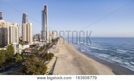 GOLD COAST, AUSTRALIA - DECEMBER 30 2016: Surfers Paradise beach and coastline at sunrise