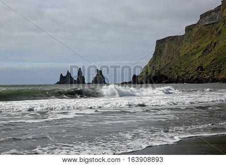 Reynisdrangar Cave at Reynisfjara Beach in Iceland