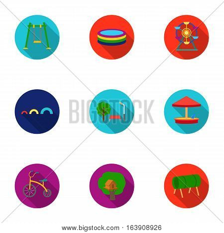Play garden set icons in flat style. Big collection of play garden vector symbol stock