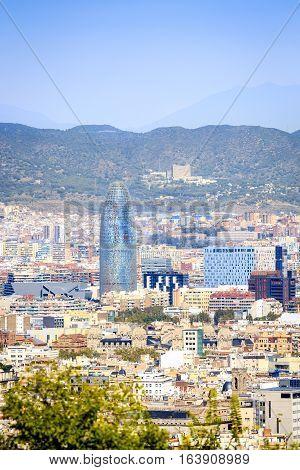 Barcelona Panorama With Agbar Tower, Catalonia, Spain