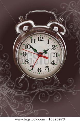 Alarm clock - vector color paint & floral calligraphy ornament. Eps10