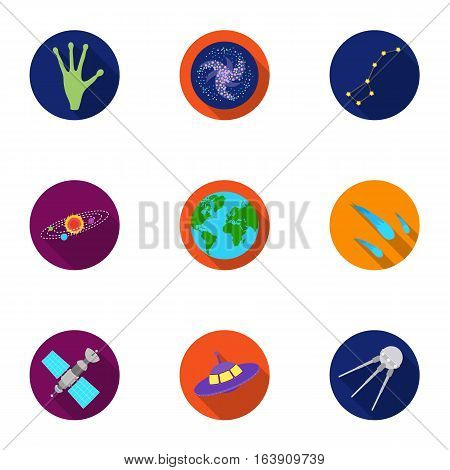 Space set icons in flat style. Big collection of space vector symbol stock