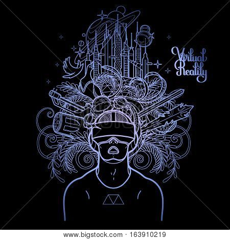 Graphic man with open mouth wearing virtual reality headset with cyber world on background drawn in line art style. Modern technologies for gaming. Coloring book page design