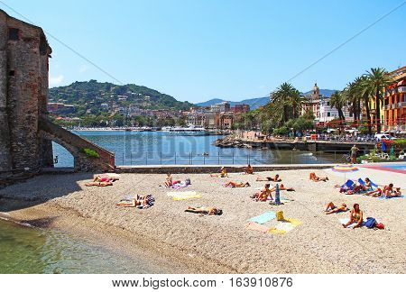 RAPALLO, ITALY - JUNE 28, 2016: Beach of Rapallo resort in Genoa province on the Ligurian sea coast