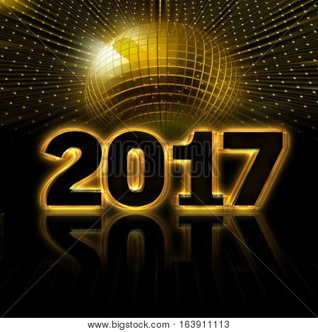 New year of 2017 placed in black background